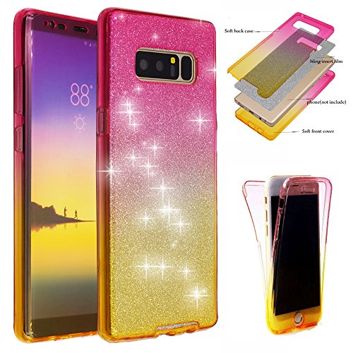 Galaxy Note 8 Case, BestAlice Front + Back 360 Degree Slim Fit Full Coverage Protective Soft Ombre Clear Crystal Gel TPU Case, Pink & Yellow & Silver Bling Glitter Film