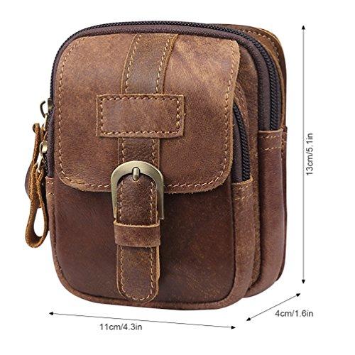 VBIGER Men Cowhide Waist Bag Retro Waist Pack Fanny Bag Cellphone Waist Pouch by VBIGER (Image #3)