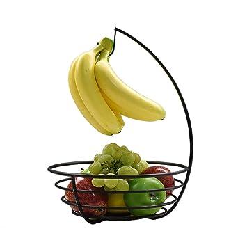 QTT Cesta De Frutas, Bandeja De Gancho De Bananas, Bandeja De Almacenamiento De Frutas/Maceta De Frutos Secos/Bandeja De Fruta De Drenaje: Amazon.es: Hogar