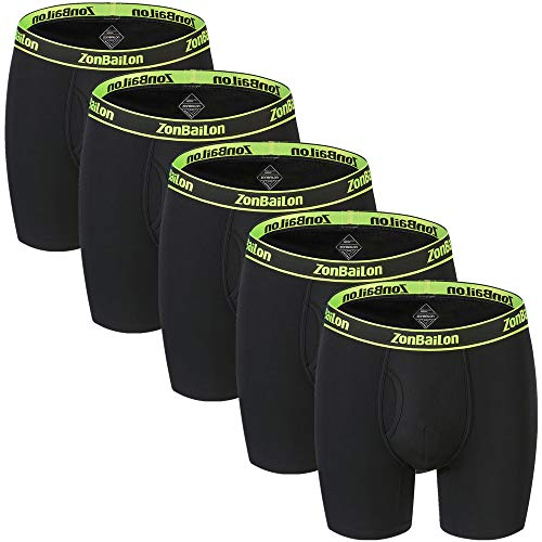 (Mens Athletic Underwear No Ride Long Leg Breathable Big Boxer Briefs Underpants (5Back-01, XXXL/Waist 48