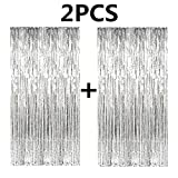 Fecedy 2pcs 3ft x 8ft Silver Metallic Tinsel Foil Fringe Curtains for Party Decorations (Silver)