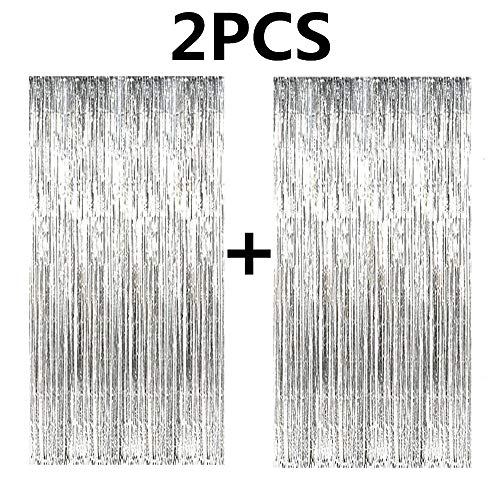 (FECEDY 2pcs 3ft x 8ft Silver Metallic Tinsel Foil Fringe Curtains Photo Booth Props for Birthday Wedding Engagement Bridal Shower Baby Shower Bachelorette Holiday Celebration Party)
