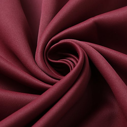 RHF Blackout Thermal Insulated Curtain - Antique Bronze Grommet Top for bedroom 52W by 63L Inches-Burgundy