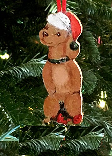 Brown Tan Poodle Ornament Handcrafted Wood Christmas Dog Lover's Gift, 1950s Cards, Santa Hat Green Dog Collar, Toy Standard Bad Doggie