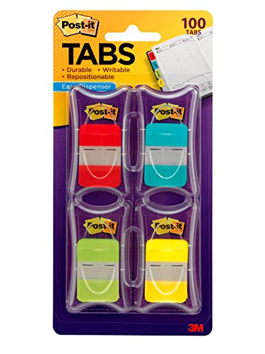 Post-it Tabs, 1 in. Solid, Asst Colors, Durable, Writable, Repositionable, Sticks Securely, Removes Cleanly, 25/Color, 25/Dispenser, 4 Dispenser/Pack, (686-RALY) (3m Dispenser Flag Post It)
