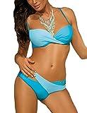 Marko Christina M-348 Womens Push up Bra Swimsuit Bikini, Light Blue,2XL