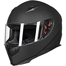 ILM Full Face Motorcycle Street Bike Helmet with Removable Winter Neck Scarf + 2 Visors DOT (L, Matte Black)