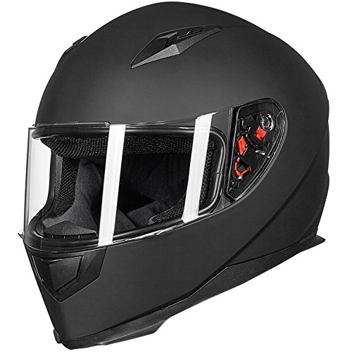 ILM Full Face Motorcycle Street Bike Helmet with Removable Winter Neck Scarf + 2 Visors DOT (M, Matte Black) ()