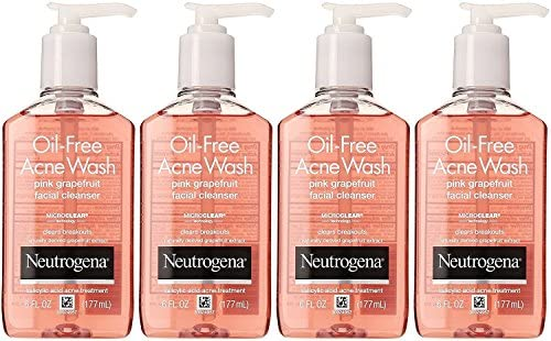Neutrogena Oil-Free Acne Wash Facial Cleanser, Pink Grapefruit, 6 Ounce Pack of 4