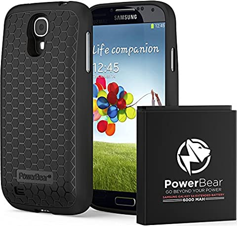 PowerBear Samsung Galaxy S4 Extended Battery [6000mAh] & Back Cover & Protective Case (Up to 2.3X Extra Battery Power) - Black [24 Month Warranty & Screen Protector (Cell Phone Cases Galaxy S 4 Mini)