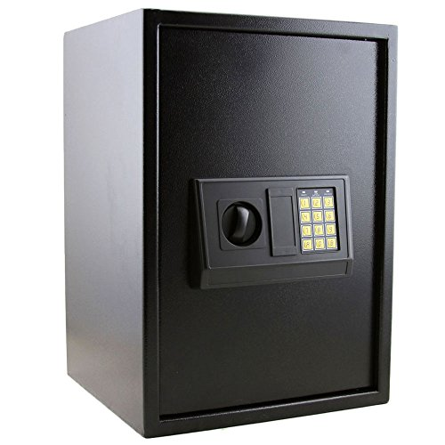 Goujxcy Cabinet Safes,E50EA Home Use Electronic Password Steel Plate Safe Box Electronic Digital Safe Large Security Box Keypad Lock for Gun Cash Jewelry Valuable Storage, Black