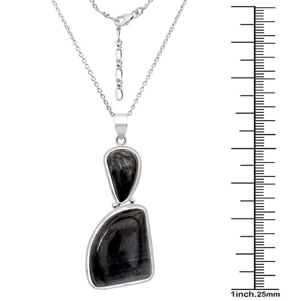 A Lovely Long Chain Pendant Necklace Set For Women In Silver With A Vintage Vibe Orchid Jewelry 42.25 Ctw Natural Fancy Purple Sugilite Sterling Silver Pendant Necklace With an 18 Inch Chain