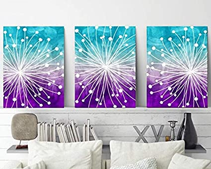 Watercolor Wall Art Watercolor Dandelion Art Aqua Teal Purple Bedroom Wall  Decor Canvas or Prints Dandelion Bathroom Decor Set of 3 8x10 inch