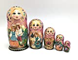 Unique Russian Nesting dolls Fairy Tale Cinderella Hand painted set Home decor Art Handcrafted