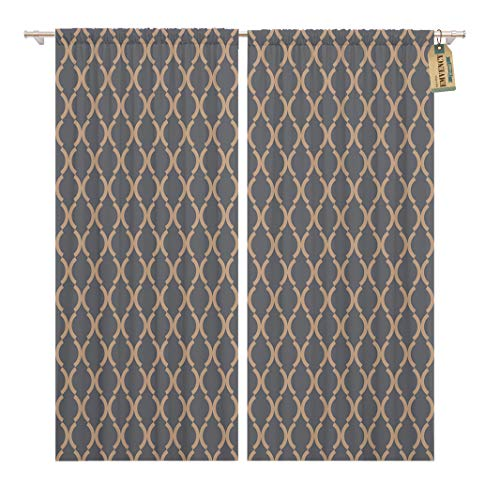 Curves Link Gold (Golee Window Curtain Navy Antique Pattern Blue Antiquity Arabesque Curve Geometric Gold Home Decor Rod Pocket Drapes 2 Panels Curtain 104 x 96 inches)