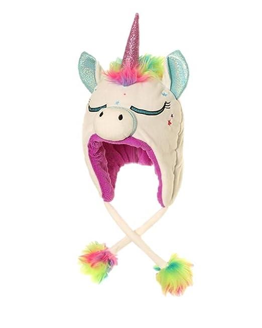 Kids Childrens Hat Winter Cold Fluffy Unicorn Girls Cute Warm Soft ... 1ed199ced13