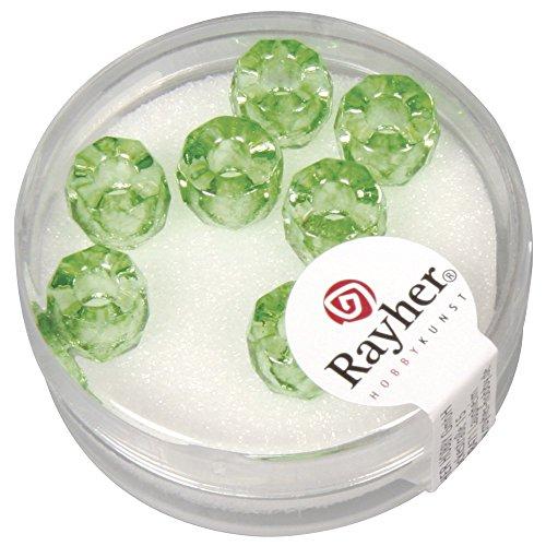 Rayher Hobby 14578426–Trou de perle Grand Trou convexes Verre Magic Flair, 6x 9mm, 3,5mm de diamètre, boîte 7stück, immergrün