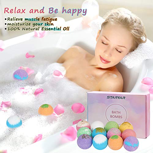 Bath Bombs Gift Set,Handmade Bubble Bath Bomb with Essential Oil, Shea Butter, Coconut Oil,Lavender Flower,Perfect for Spa or Bubble Bath,Best Birthday Gift for Kids/Women/Men, Mother\'s Day