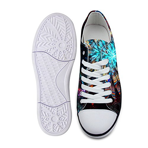 For U Design Stilig Unisex Glitter Print Lerret Mote Sneaker Tilfeldige Blonder-up Low Top Flate Sko Blå A2