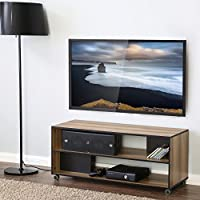 FITUEYES Wood TV Stand Storage Console Oak with Wheels,BCT308001WB