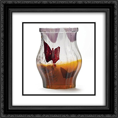 Papillon Vase (Emile Galle 2x Matted 20x20 Black Ornate Framed Art Print 'Papillon Verre Parlant Vase')