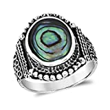 AeraVida Rainbow Abalone Shell Vintage Oval Balinese Style .925 Sterling Silver Ring (8)
