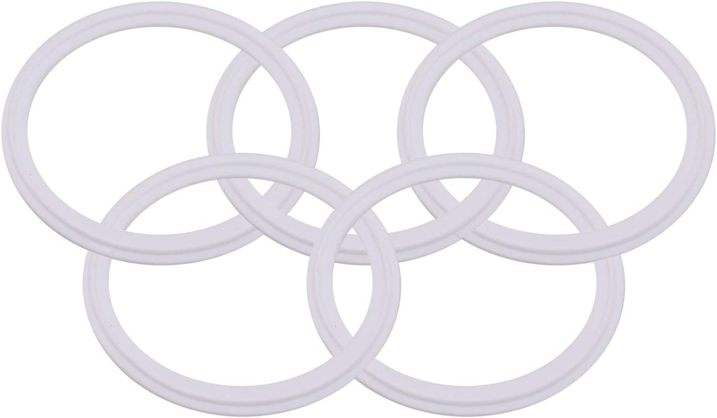 DERNORD Teflon Pack of 5 PTFE Tri-Clamp Gasket O-ring 4 Inch Style Fits OD 119MM Sanitary Pipe Weld Ferrule