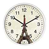Hanging Clock, Hmane Retro 12-inch Eiffel Tower Pattern Round Wall Clock Decor Hanging Clock - White Frame