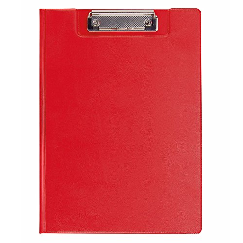 eBuyGB A4 PVC Clipboard with Folding Cover - Metal Clip and Inner Plastic Slip Pocket - Stationary Accessories Classroom and Office Supplies (Red)
