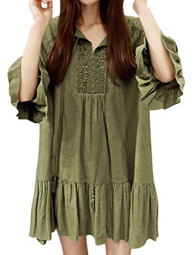 sourcingmap Mujer Borlas Pajarita Ganchillo Costuras Volante Holgado Vestido Túnica Verde