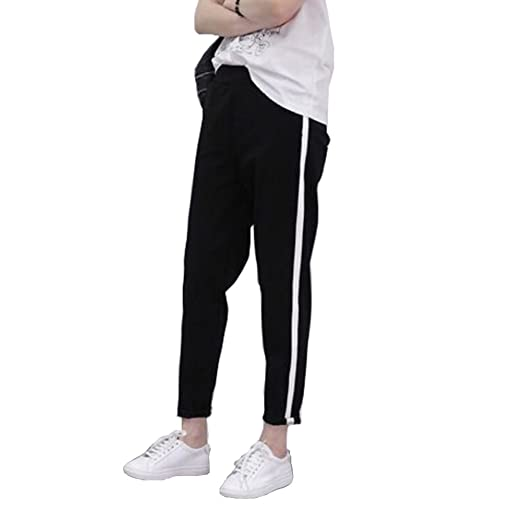 d7e964e29bcf3 Dovee Fashion Women Side Stripes Sweatpants Elastic Waist Black Casual  Trousers Hip Hop Jogger Pants (