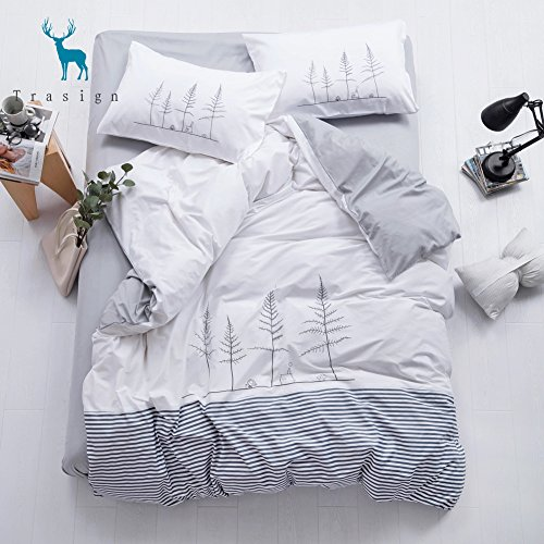 Hand Bed Set Painted (Trasign Trees Duvet Cover Set Queen with Hand-Painted Printed Modern Cotton Duvet Comforter Cover Soft Kids Bedding Set for Boys and Girls, Queen)