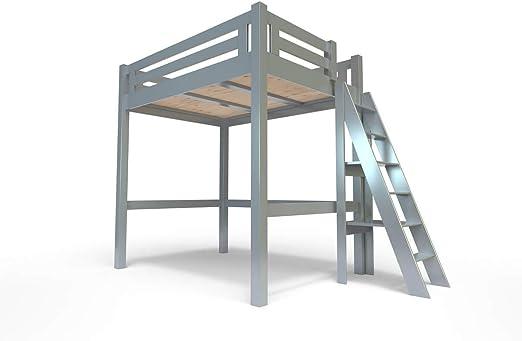 ABC MEUBLES - Cama Alta Alpage con Escalera empinada - ALPAGECH - Gris Aluminio, 160x200: Amazon.es: Hogar