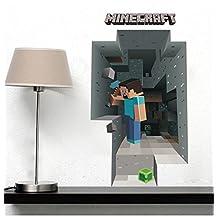 Fangeplus(TM) 3D Minecraft Through Wall DIY Removable Art Mural Vinyl Waterproof Wall Stickers Kids Room Decor Nursery Decal Sticker Wallpaper 27.5''x19.6''