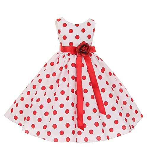 KiKi Kids USA Big Girls Red Polka Dots Sleeveless Special Occasion Flower Girl Dress 10 from Kiki Kids