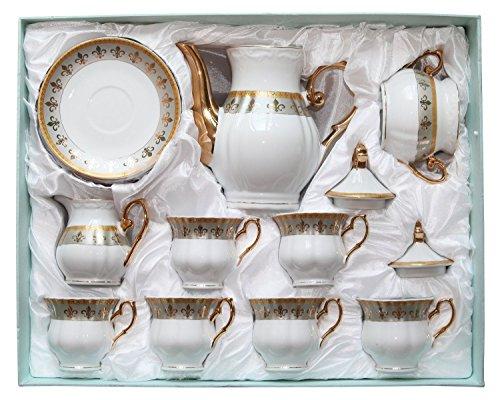 Royalty Porcelain 15pc Fleur-de-Lis Tea Set, Service for 6, 24K Gold-Plated Bone China Tableware by Royalty Porcelain (Image #6)