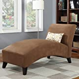 Handy Living 340CL-AAA89-084 Microfiber Chaise, Dark Brown For Sale