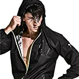 HOTSUIT Sauna Suit Boxing Running Clothes Men Fitness (Black, Large)