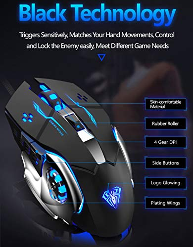 Gaming Mouse, Ergonomic USB Wired Gaming Optical Mice with 6 Programmable Buttons and 4 Colors LED Backlight, 4 DPI Settings Up to 2400 DPI Computer Mouse for Laptop PC Games & Work(Black)