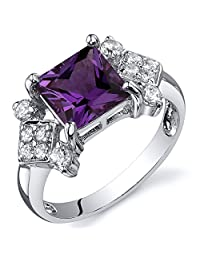 Created Color Change Sapphire Princess Ring Sterling Silver Nickel Finish 2.25 Carats Sizes 5 to 9