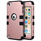 ULAK iPod 5 case, iPod Touch 6 Case 3in1 Hybrid Impact Shockproof Soft Silicone Bumper Case Hard PC Protective Cover for Apple iPod Touch 5th 6th Generation (Rose Gold + Black)