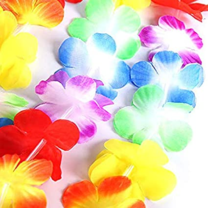 Decorazione per Feste Ghirlanda Hawaiana 50 Pezzi ECOSWAY 50pcs//100pcs Collana Hawaiana Tropicale Ghirlanda di Fiori in Tessuto Hawaiano