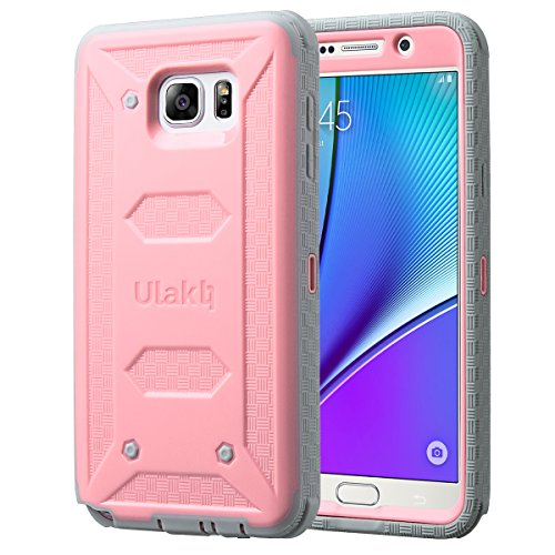ULAK [Knox Armor] Rugged Dual Layer Hybrid Protective Case Front Cover Without Built in Screen Protector Holster for Samsung Galaxy Note 5 - Retail Packaging - Pink