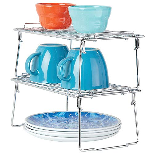 (mDesign Metal Stackable Storage Shelf - 2 Tier Raised Food and Kitchen Organizer for Cabinets, Pantry Shelves, Countertops, Closet, 2 Pack - 7