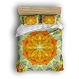 Dioline Bohemian Style Lightweight Cotton Vintage Mandala Floral Twin Quilt Bedding Cover Sets Double Brushed Boho Mandala Four Piece Bedding Sets