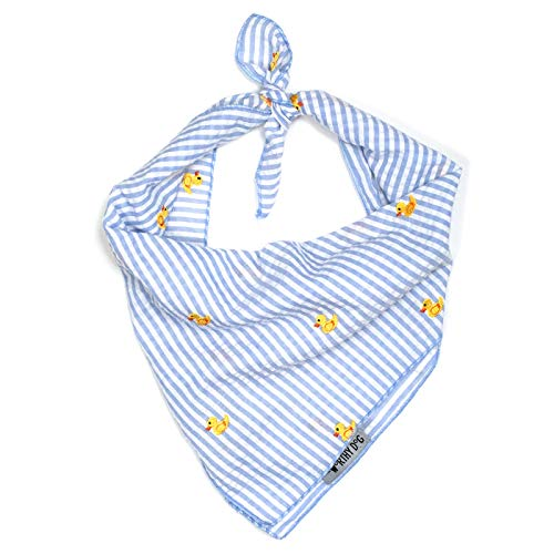 The Worthy Dog Light Blue and White Stripe Seersucker with Embroidered Yellow Rubber Ducks Pattern Designer Tie On Bandana for Pet Dog Cat 21958-4278LG