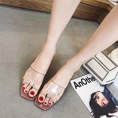 @Sandals La Versión Coreana Es Simple, Transparente, Duro Y Medio Dedo Print Zapatillas De Tacon Alto,Treinta Y Seis,Pink 36