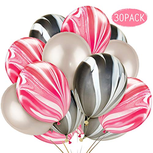 JOYMEMO Marble Balloons Pink Black White Agate Balloons Decorations for Girl's Birthday Party, Wedding Decorations