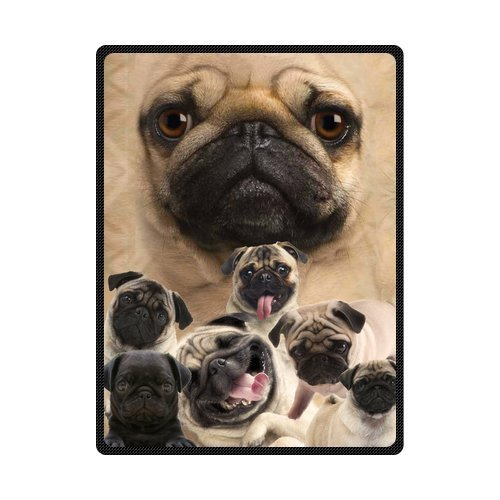 50 x 80 Blanket Comfort Warmth Soft Cozy Air Conditioning Easy Care Machine Wash and Comfortable Pug Dog