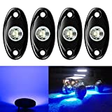 4 Pods LED Rock Light CREE Chips, Ampper Universal Fit Waterproof Multi Function Accent Glow Neon LED Light Kits for Cars Offroad Truck Boat Deck Underbody Interior Exterior (Blue)